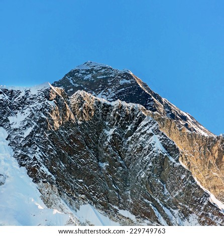 Mount Everest (8848 m) in the morning (view from Tengboche monastery) - Nepal, Himalayas - stock photo