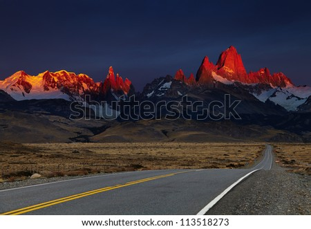 Mount Fitz Roy at sunrise, alpenglow. Los Glaciares National Park, Patagonia, Argentina - stock photo