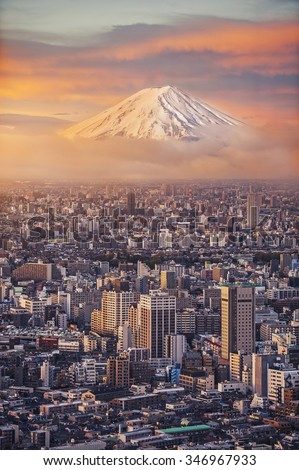 Mount Fuji and Japan cityscape in twilight - stock photo