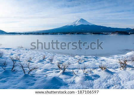 Mount Fuji in Winter Scene on February 2014, Heavy snowfall in the past 120 years of Japan. - stock photo