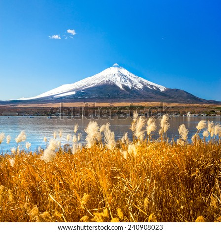 Mount Fuji reflected in Lake Yamanaka at dawn, Japan. - stock photo