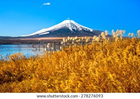 Mount Fuji reflected in Lake Yamanaka at dawn, Japan. - stock photo