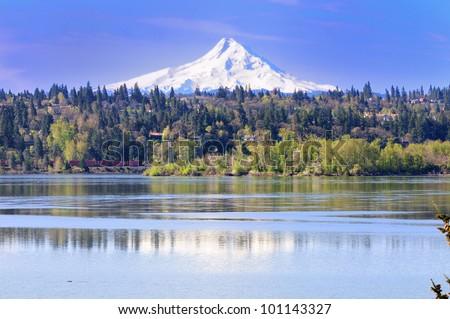 Mount hood and reflection - stock photo