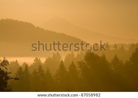 Mount Hood, Oregon, Usa; Silhouetted Landscape At Sunrise - stock photo