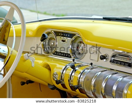 MOUNT HOPE, ONTARIO - AUGUST 14: The interior of a vintage 1955 Buick Special on display at the Vintage Wheels and Wings show at the Hamilton Airport on August 14, 2011 in Mount Hope, Ontario - stock photo
