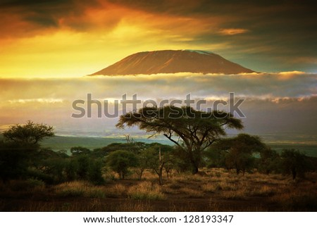 Mount Kilimanjaro and clouds line at sunset, view from savanna landscape in Amboseli, Kenya, Africa - stock photo