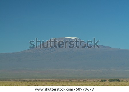 Mount Kilimanjaro on a beautiful clear day - stock photo