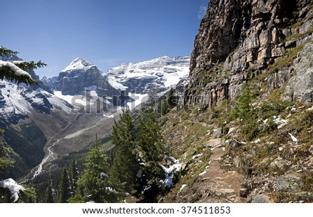Mount Lefroy (left), Mount Victoria (right) Devil's Thumb Hike, Scramble Lake Louise, Banff National Park, Alberta, Canada Picture taken on August 22, 2015 - stock photo