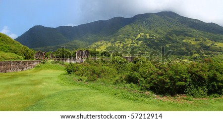 Mount Liamuiga from Brimstone Hill Fortress - St Kitts - stock photo