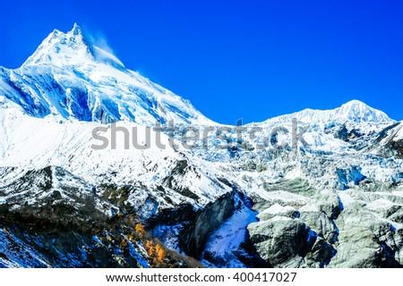 Mount Manaslu. Nepal, Himalaya - stock photo