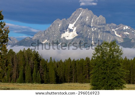 Mount Moran and its glaciers are important features in Grand Teton National Park - stock photo
