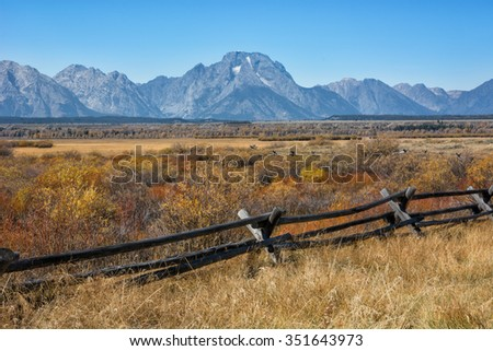 Mount Moran near the Cunningham cabin in the Grand Teton National Park Wyoming during the autumn season. - stock photo