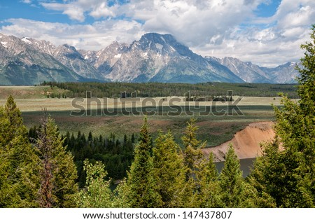 Mount Moran vista from Snake River Overlook at Grand Teton National Park, Wyoming. - stock photo