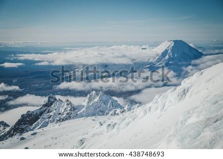 Mount Ngauruhoe at Tongariro National Park in New Zealand   - stock photo