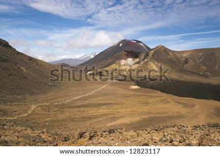 Mount Ngauruhoe, Red Crater, Tongariro Crossing, New Zealand. Also know as Mount Orodruin or Doom in The Lord of the Rings - stock photo