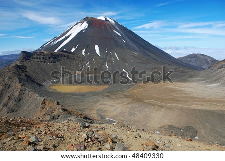 Mount Ngauruhoe, Tongariro NP - stock photo
