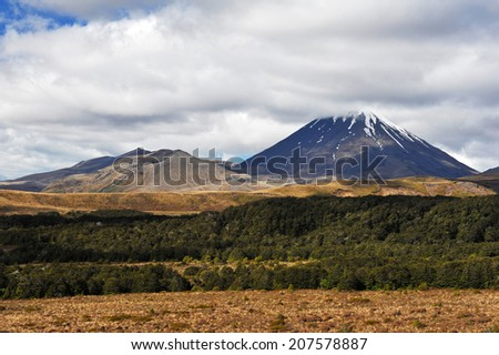 Mount Ngauruhoe volcano known from famous movies, Tongariro Crossing National Park - New Zealand - stock photo