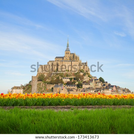 mount  of Mont Saint Michel in spring day,  France - stock photo