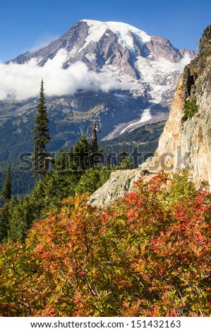 Mount Rainier as seen from the trail to Plummer Peak in Autumn; Mountain ash in the immediate foreground showing fall color; Mount Rainier National Park, Washington State - stock photo