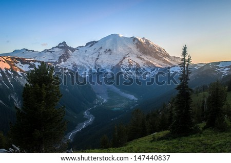 Mount Rainier at Dusk - Mount Rainier National Park, WA. - stock photo