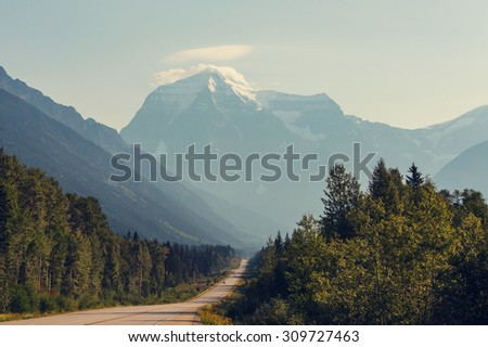 Mount Robson,  British Columbia, Canada - stock photo