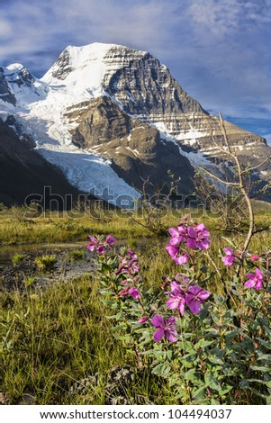 Mount Robson, the Highest Peak of Canadian Rockies - stock photo