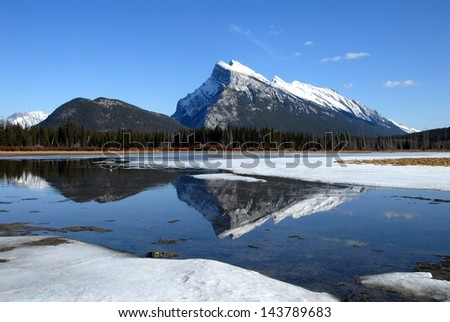Mount Rundle and Vermilion Lakes in winter,Canadian Rockies,Canada - stock photo