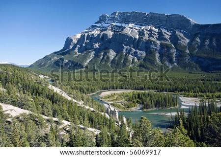 Mount Rundle in Banff National Park.  Alberta, Canada. - stock photo