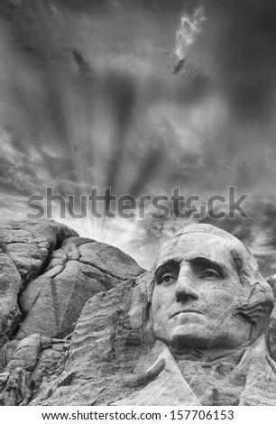 Mount Rushmore - George Washington sculpture. - stock photo