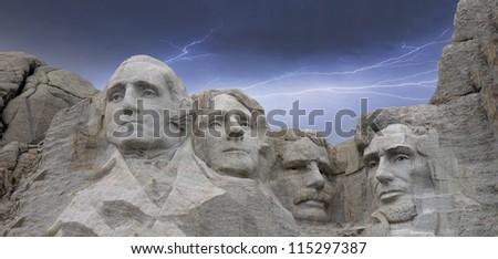 Mount Rushmore National Memorial in South Dakota, U.S.A. - stock photo