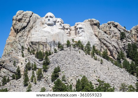 Mount Rushmore National Memorial, South Dakota, USA. - stock photo