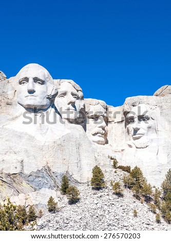 Mount Rushmore National Monument in South Dakota. Vertical image on a clear day.