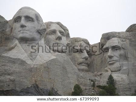 Mount Rushmore South Dakota on an overcast day - stock photo