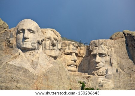 Mount Rushmore storm light - stock photo