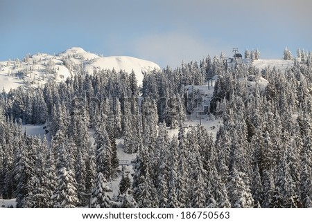 Mount Seymour Peak, Fresh Snow, Vancouver. A chairlift takes skiers and boarders to the top of Mount Seymour which has a blanket of fresh snow. - stock photo
