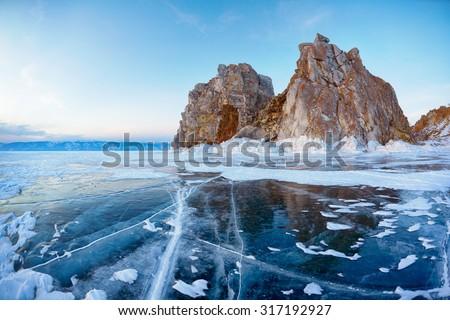 Mount Shamanka or Cape Burkhan on siberian lake Baikal at winter - stock photo