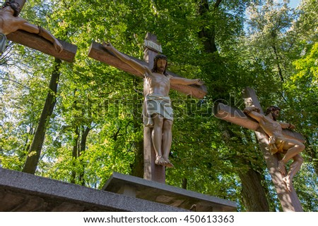 Mount St. Anna, Poland - July 4, 2016: Crosses Jesus and the two thieves on Calvary. International Shrine of St. Anne, Mount St. Anna, Poland - stock photo