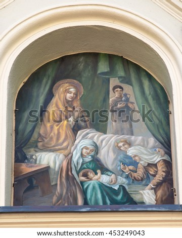 Mount St. Anna, Poland - July 7, 2016: The painting above the gate to the monastery and the Basilica of the Franciscan - stock photo
