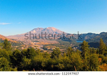Mount St Helens and Castle Lake - stock photo