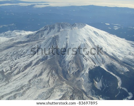Mount St Helens in winter. - stock photo