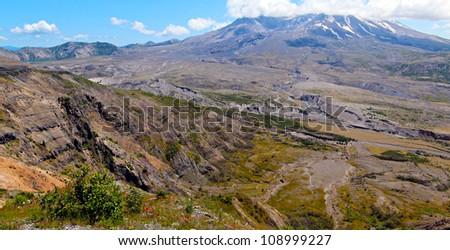 Mount st Helens with Spirit Lake - stock photo