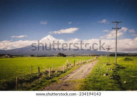 Mount Taranaki, the Fuji of New Zealand - stock photo