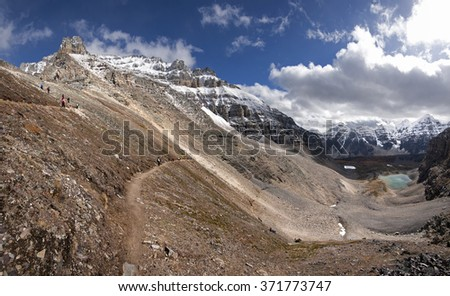 Mount Temple, with Beautiful Larch Trees Sentinel Pass Hike, Lake Louise Banff National Park, Alberta, Canada Picture taken on September 26, 2015 - stock photo
