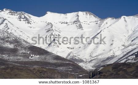 Mount Timpanogos, an 11,750 feet peak near Sundance Ski Resort in Utah (about 40 miles South of Salt Lake City) - stock photo