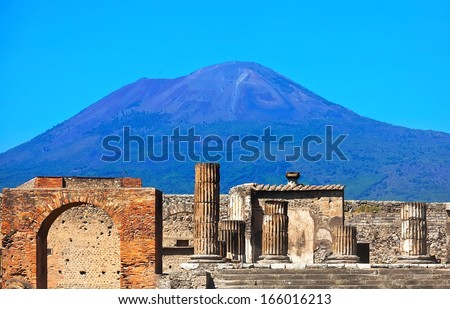 Mount Vesuvius and ruins of ancient town Pompeii in Italy - stock photo