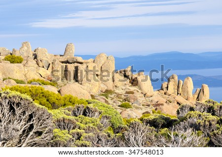Mount wellington in hobart a major tourist attraction for its unique landscape of rocks and alpine vegatation  - stock photo