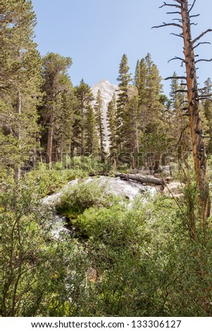 Mount Whitney Trail is a trail that climbs Mount Whitney. It starts at Whitney Portal, 13 miles (21 km) west of the town of Lone Pine, California. - stock photo