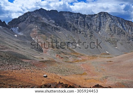 Mount Wilson, a Colorado 14er in the San Juan Mountains, Colorado Rockies - stock photo