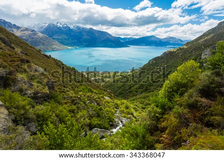 mountain and lake landscape in Queenstown, New Zealand - stock photo