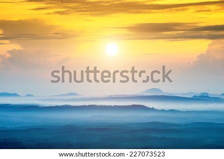 Mountain and mist at Kra-bi, Thailand - stock photo